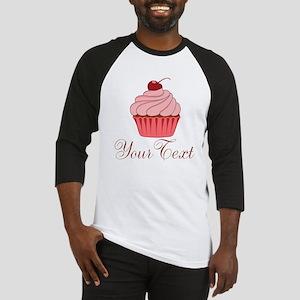 Personalizable Pink Cupcake Baseball Jersey