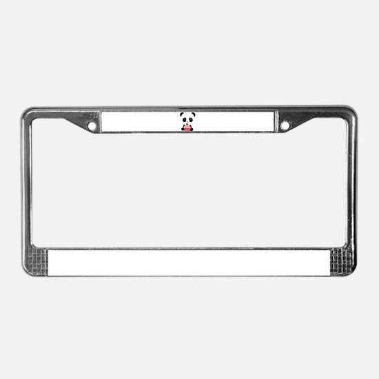 Panda Bear Cupcake License Plate Frame