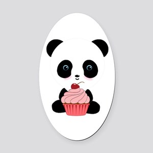 Panda Bear Cupcake Oval Car Magnet