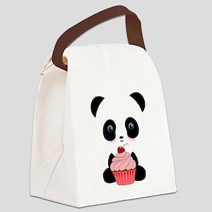 Panda Bear Cupcake Canvas Lunch Bag
