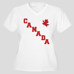 Canada Women's Plus Size V-Neck T-Shirt
