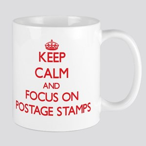 Keep Calm and focus on Postage Stamps Mugs
