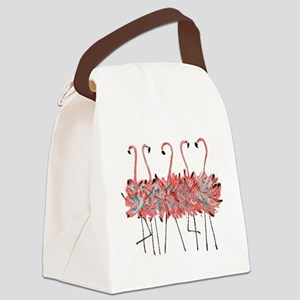 5 Pink Flamingos Canvas Lunch Bag