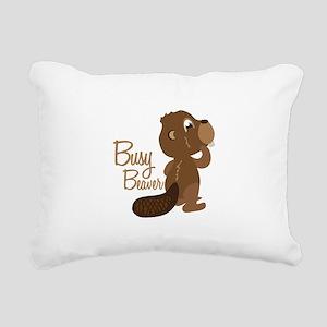 Busy Beaver Rectangular Canvas Pillow
