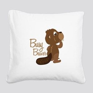 Busy Beaver Square Canvas Pillow