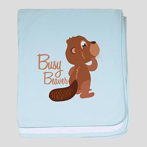 Busy Beaver baby blanket