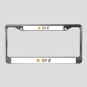 Snowman crossing License Plate Frame