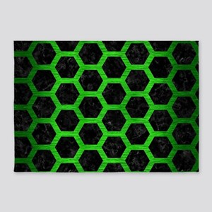 HEXAGON2 BLACK MARBLE & GREEN BRUSH 5'x7'Area Rug