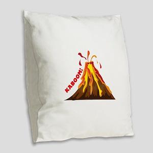 Volcano Kaboom Burlap Throw Pillow