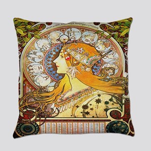 Alfons Mucha 1896 Zodiac Everyday Pillow