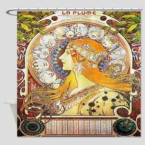 Alfons Mucha 1896 Zodiac Shower Curtain