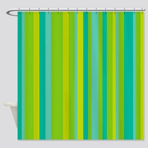 Green & Turquoise Stripes Shower Curtain