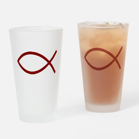 Christian Fish Ichthys dark red Drinking Glass