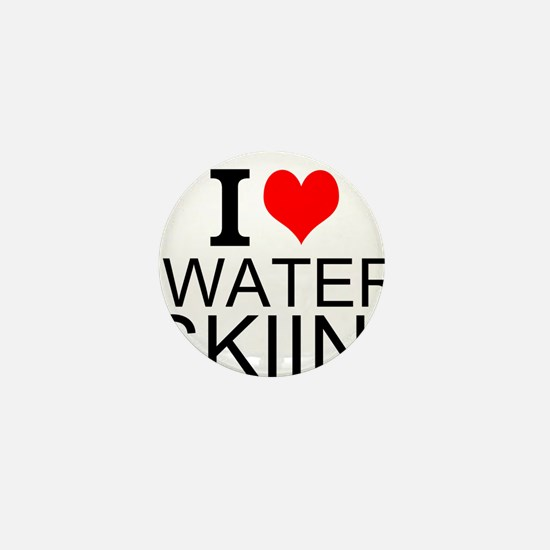 I Love Water Skiing Mini Button (10 pack)