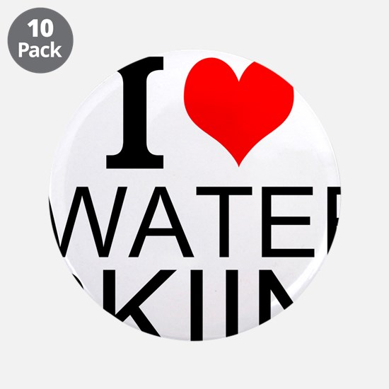 "I Love Water Skiing 3.5"" Button (10 pack)"