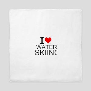 I Love Water Skiing Queen Duvet