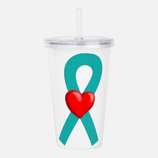 Teal Heart Ribbon Acrylic Double-wall Tumbler