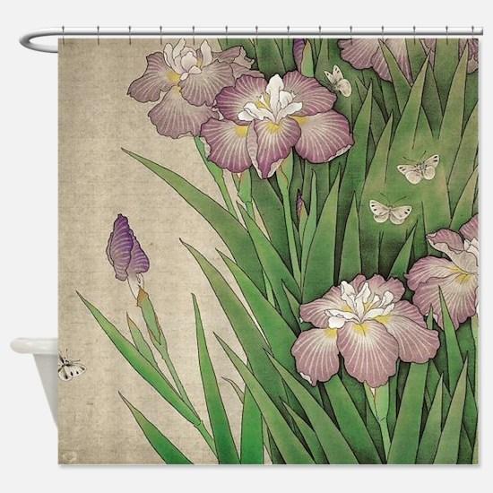 Cute Iris flower garden Shower Curtain