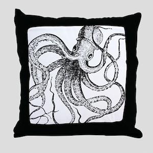 Black and White Vintage Octopus Throw Pillow