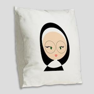Sister Head Burlap Throw Pillow