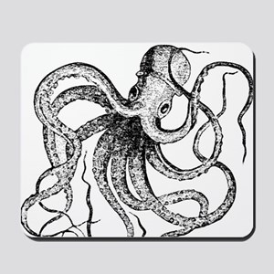 Black and White Vintage Octopus Mousepad