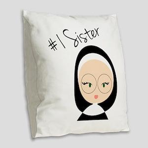 #1 Sister Burlap Throw Pillow
