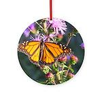 Monarch Butterfly on Purple Milkweed Ornament (Rou