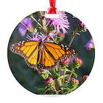 Monarch Butterfly on Purple Milkweed Ornament