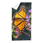 Monarch Butterfly on Purple Milkweed Beach Towel