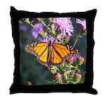 Monarch Butterfly on Purple Milkweed Throw Pillow