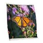 Monarch Butterfly on Purple Milkweed Burlap Throw