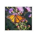 Monarch Butterfly on Purple Milkweed Throw Blanket