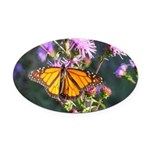 Monarch Butterfly on Purple Milkweed Oval Car Magn