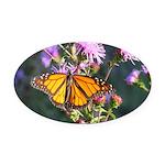 Monarch Butterfly on Purple Milkweed Oval Car Magn