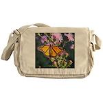 Monarch Butterfly on Purple Milkweed Messenger Bag