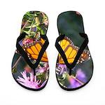 Monarch Butterfly on Purple Milkweed Flip Flops