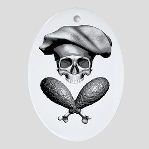 Chef Skull: Crossed Drumsticks Ornament (Oval)