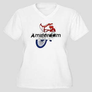 Amsterdam Bicycle Women's Plus Size V-Neck T-Shirt