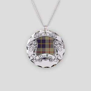 MacRae Tartan Shield Necklace Circle Charm