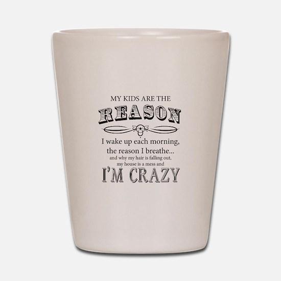 Reason I'm Crazy Shot Glass
