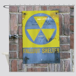 Fallout Shelter Sign Shower Curtain