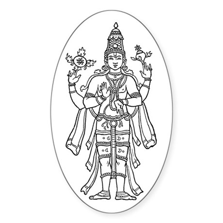 Vishnu - Hindu Diety Oval Sticker