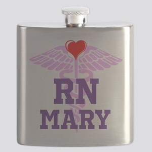 RN Pink Caduceus with purple letters Flask