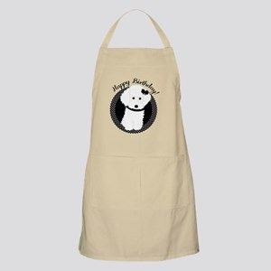 White Poodle Party Dog with Cupcake Apron