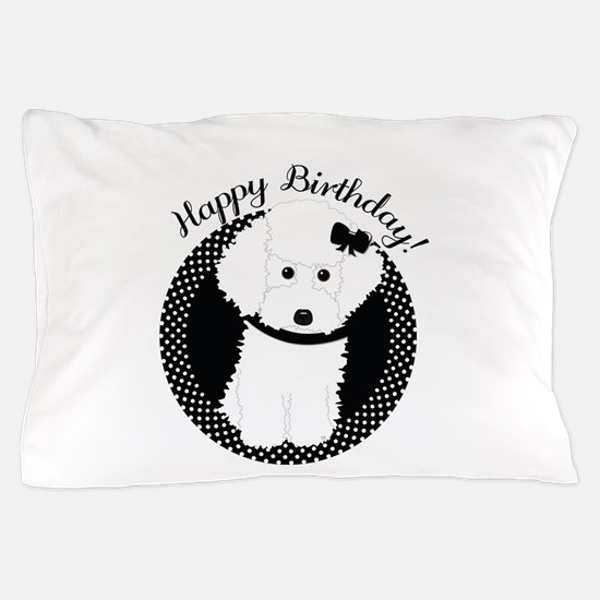 White Poodle Party Dog With Cupcake Pillow Case