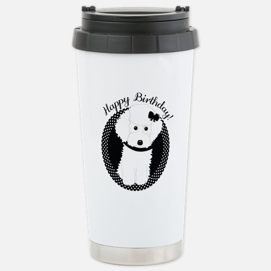 White Poodle Party Dog with Cupcake Travel Mug