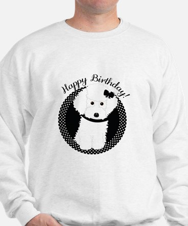 White Poodle Party Dog with Cupcake Sweatshirt