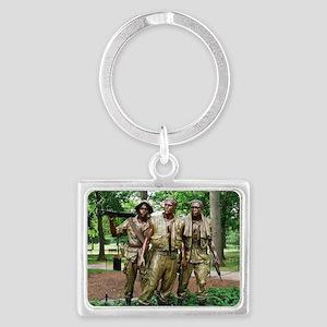 Three Vietnam Servicemen Statue Landscape Keychain