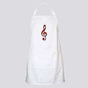 Retro Red Treble Clef BBQ Apron