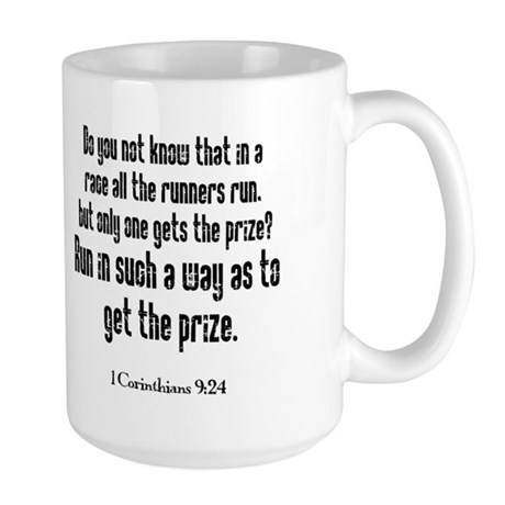 Run the Race verse Large Mug